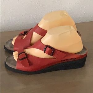 Authentic Mephisto red leather wedge sandals Sz 9